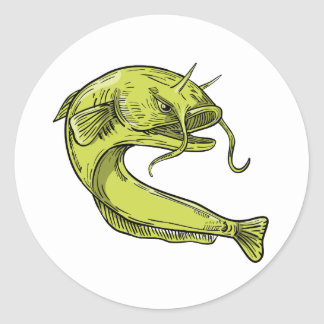 Devil Catfish Jumping Drawing Classic Round Sticker