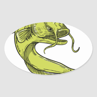 Devil Catfish Jumping Drawing Oval Sticker