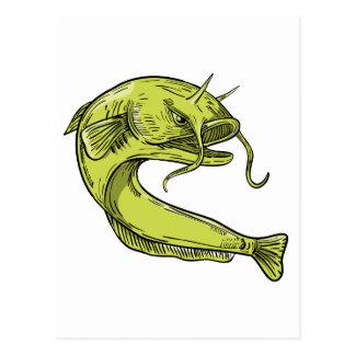 Devil Catfish Jumping Drawing Postcard