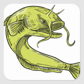 Devil Catfish Jumping Drawing Square Sticker