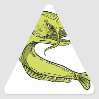 Devil Catfish Jumping Drawing Triangle Sticker
