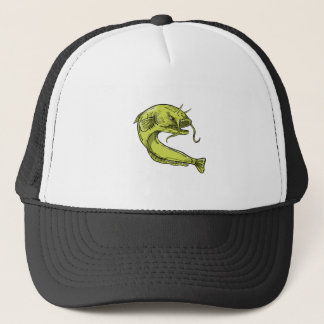 Devil Catfish Jumping Drawing Trucker Hat