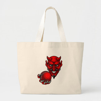 Devil Cricket Sports Mascot Large Tote Bag
