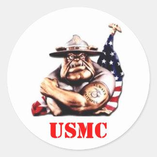 DEVIL DOG USMC CLASSIC ROUND STICKER