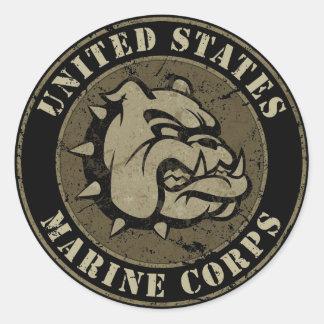 Devil Dog Vintage Emblem Classic Round Sticker