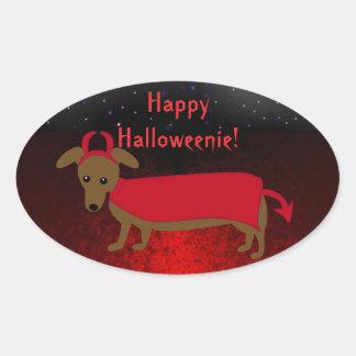 Devil Doggie Oval Sticker