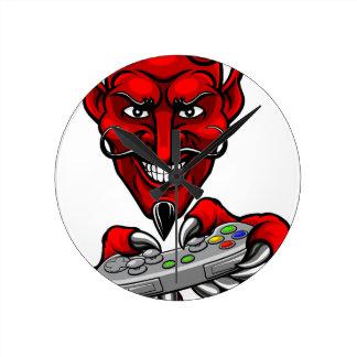 Devil Esports Sports Gamer Mascot Round Clock