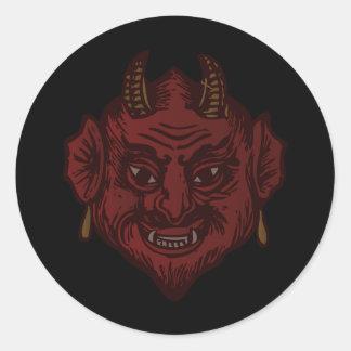 Devil Head (faded red) Classic Round Sticker