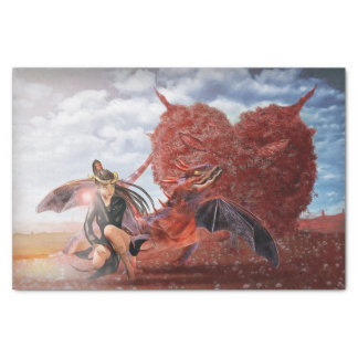 Devil Heart Chinese Red Dragon Lady Fantasy Tissue Paper