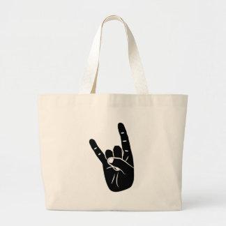 Devil of horn sign LANGUAGE pictogram for rock Large Tote Bag