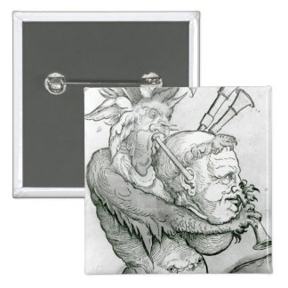 Devil Playing Man's Head as a Saxophone, 1144 2 Inch Square Button
