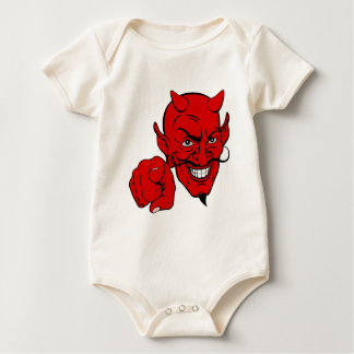 Devil Pointing Cartoon Character Baby Bodysuit