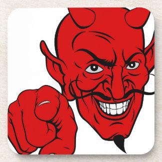 Devil Pointing Cartoon Character Coaster