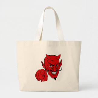 Devil Pointing Cartoon Character Large Tote Bag