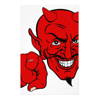 Devil Pointing Cartoon Character Stationery