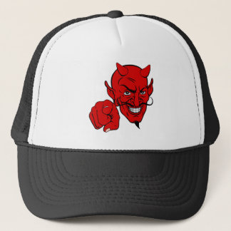 Devil Pointing Cartoon Character Trucker Hat