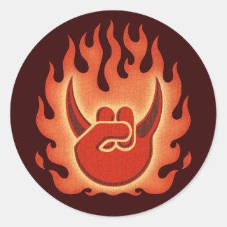 Devil Rock Flames Classic Round Sticker