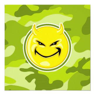 Devil Smiley Face; bright green camo, camouflage Invites