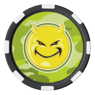 Devil Smiley Face; bright green camo, camouflage Poker Chip Set