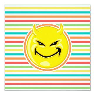 Devil Smiley Face on Bright Rainbow Stripes Custom Announcement