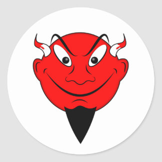 Devil Smiley Round Sticker