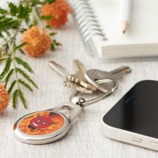 Devil smiley Silver-Colored oval keychain