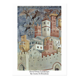Devil Urban Landscape By Giotto Di Bondone Postcard