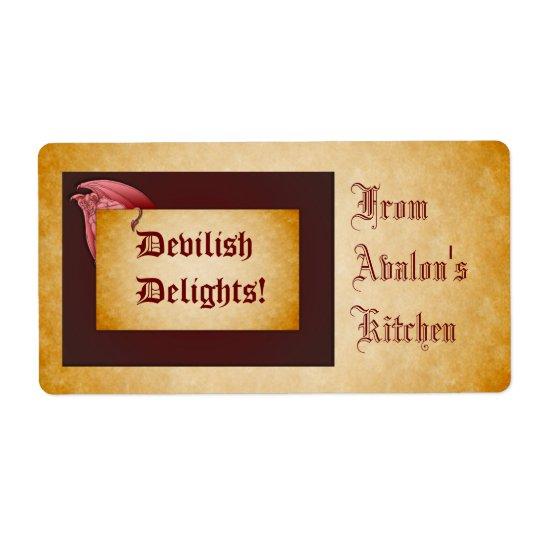 Devilish Delights Halloween Treats Baking Label