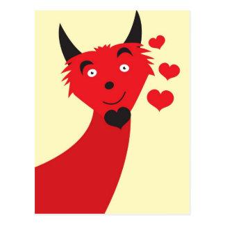 Devilish lover monster postcard