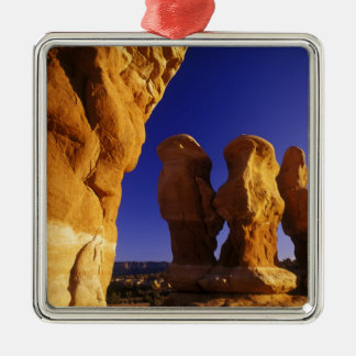 Devils Garden in the Grand Staircase Escalante Silver-Colored Square Ornament