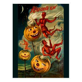 Devils Lighten Up Jack O'Lanterns Postcard