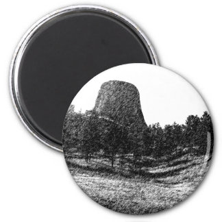 Devils Tower National Monument 2 Inch Round Magnet