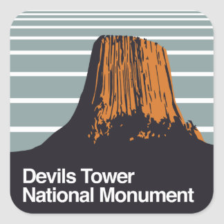 Devils Tower National Monument Square Sticker