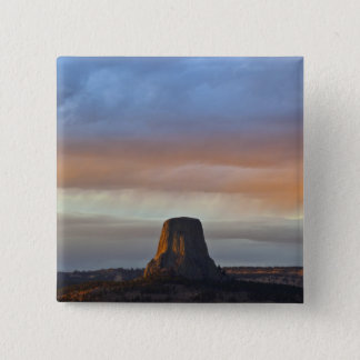 Devils Tower National Monument, Storm at Sunset 2 Inch Square Button
