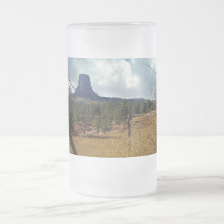 Devils Tower National Monument Wyoming Frosted Glass Beer Mug