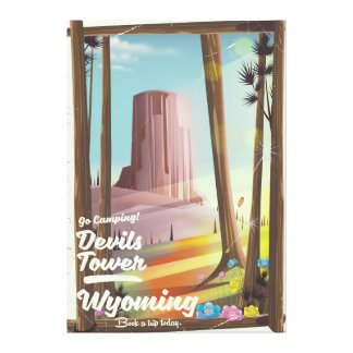 Devils Tower, Wyoming vintage Camping print. Canvas Print