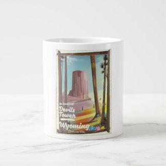 Devils Tower, Wyoming vintage Camping print. Large Coffee Mug
