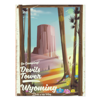 Devils Tower, Wyoming vintage Camping print. Postcard