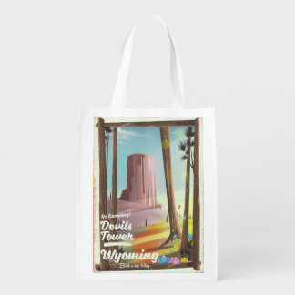 Devils Tower, Wyoming vintage Camping print. Reusable Grocery Bag