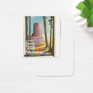 Devils Tower, Wyoming vintage Camping print. Square Business Card