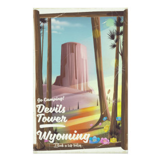 Devils Tower, Wyoming vintage Camping print. Stationery