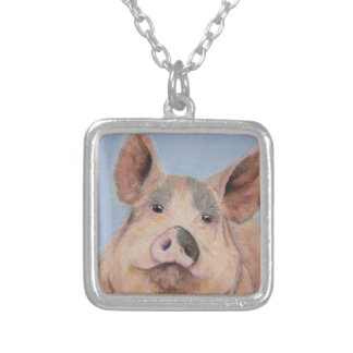 Devine Swine Silver Plated Necklace