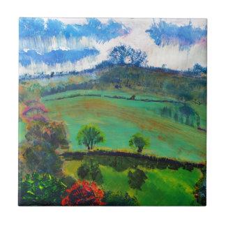 Devon England Countryside Landscape Painting Tile