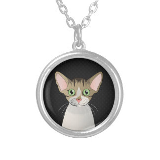 Devon Rex Cat Cartoon Paws Silver Plated Necklace