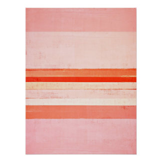 'Devoted' Pink and Orange Abstract Art Poster