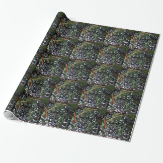 Dew drops in a spider net wrapping paper