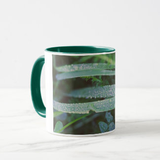 Dew drops in the grass mug