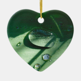 Dew Drops On A Tulip Leaf Ceramic Heart Ornament
