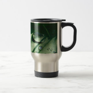 Dew Drops On A Tulip Leaf Travel Mug