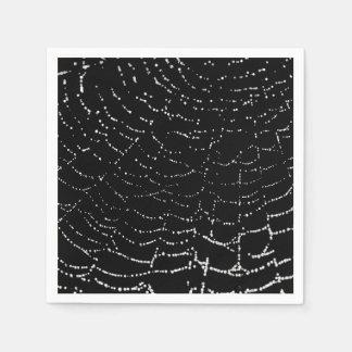 Dew On Shiny Web Silver On Black Background Design Paper Napkin